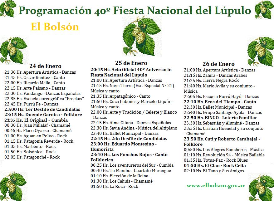 cronograma de la fiesta del Lupulo 2014