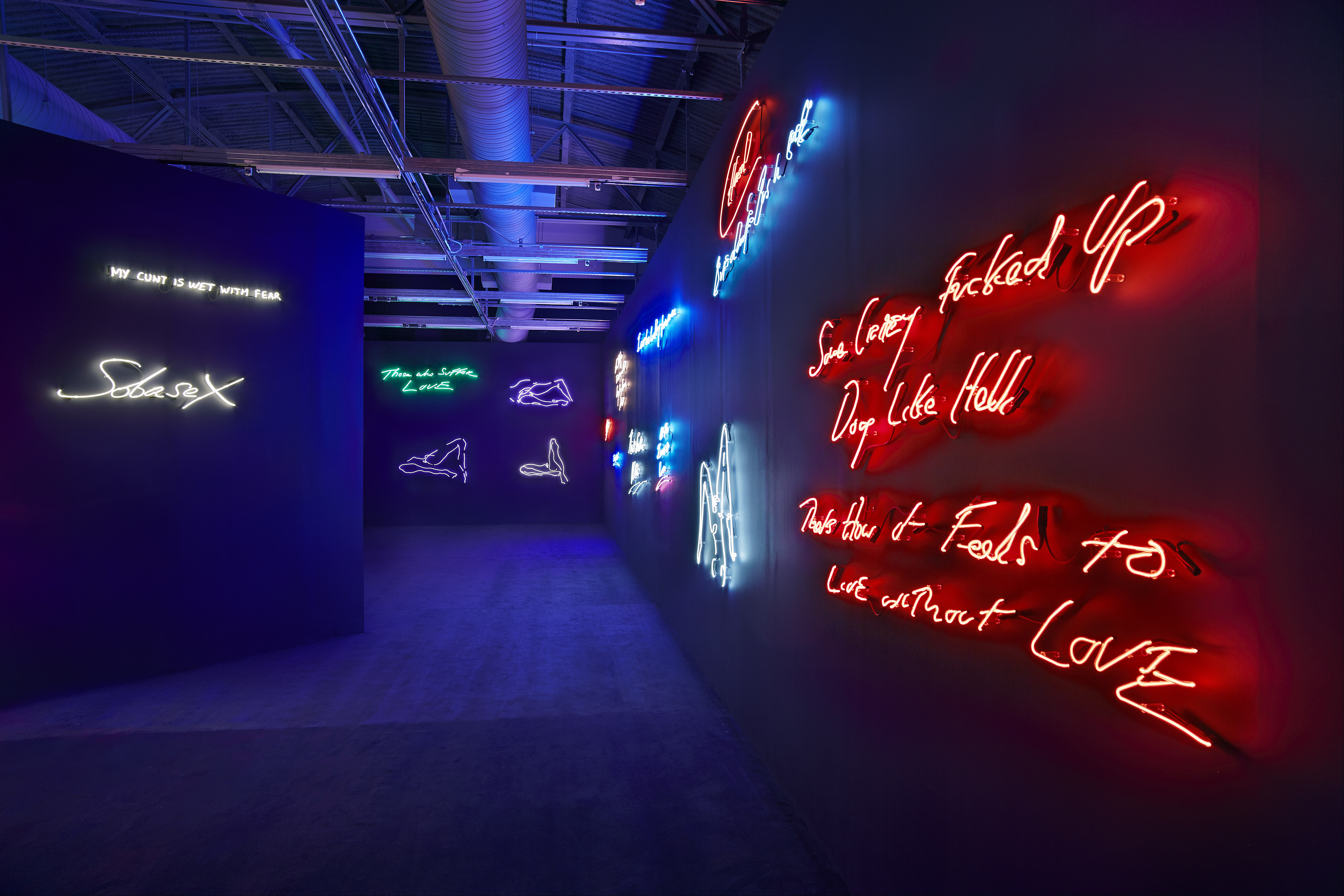 Instalación de neones de la artista Británica Tracey Emin en el MOCA Miami, Diciembre 2013.