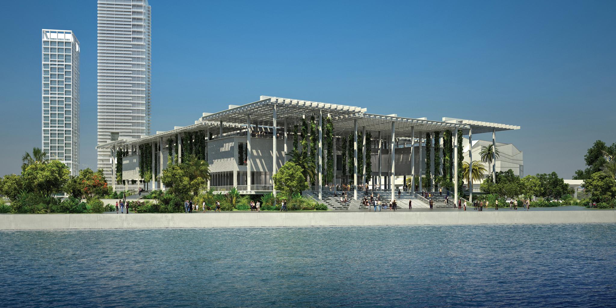 El Perez Art Museum Miami, todavía con los últimos retoques de construcción el día antes de su inauguración durante la semana de Miami Art Basel