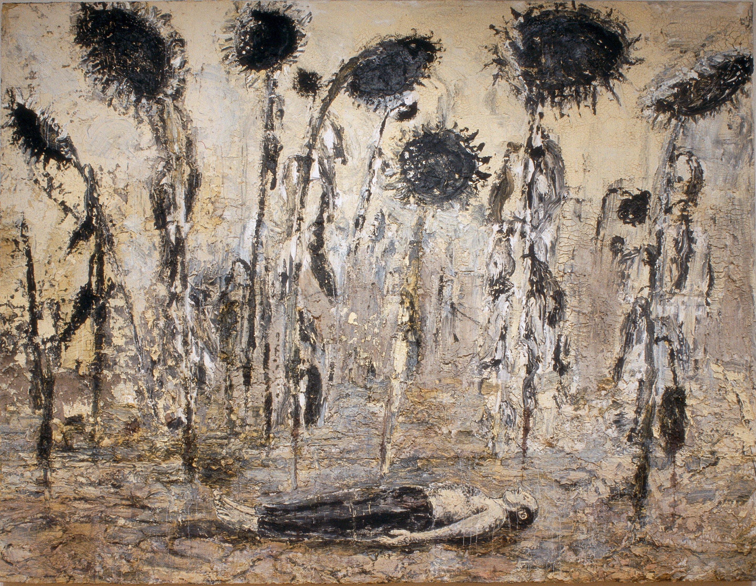 Anselm Kiefer: el cuerpo del artista yace muerto y custodiado por girasoles