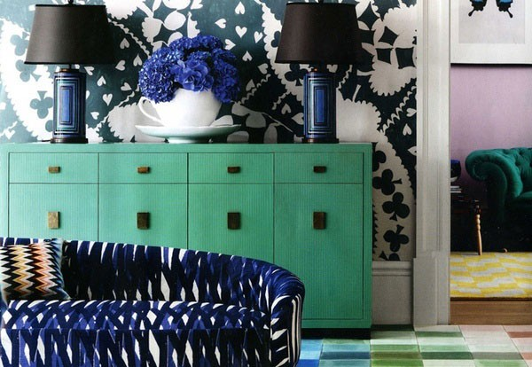 Verde menta pura frescura decoideas - Navy blue and turquoise living room ...