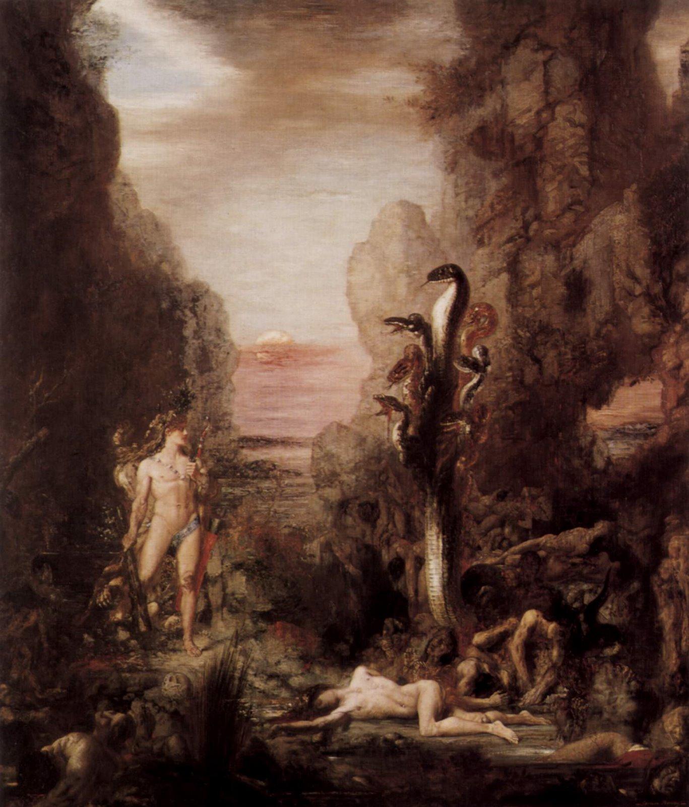 Heracles frente a la Hidra. Según una versión, un cangrejo traerá complicaciones al héroe e identidad al signo de Cáncer.
