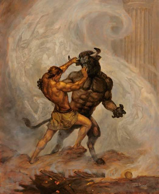 Teseo se dispone a matar al Minotauro. Según la versión el signo remite al engendro o a su padre, el toro blanco de Creta.