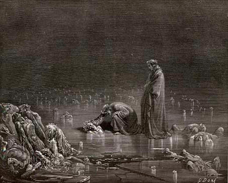 """Los traidores padecen """"enterrados"""" en el hielo del Cocito. Los peores pecadores, están completamente sumergidos."""