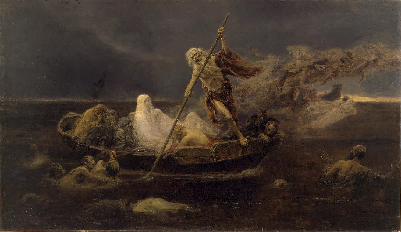 Caronte, el demonio barquero del Infierno, que traslada las almas por el río Aqueronte