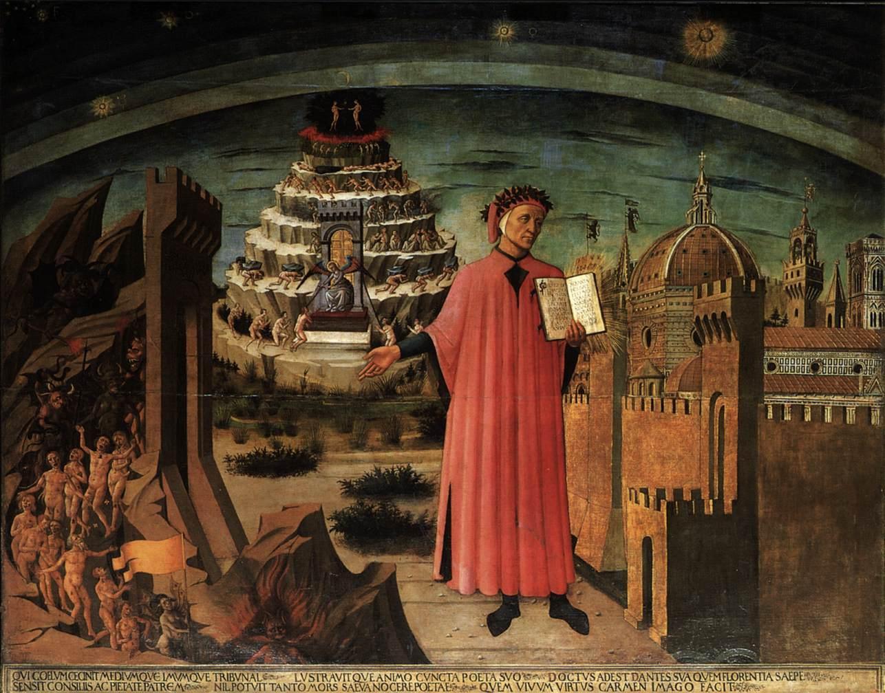 Dante Alighieri leyendo su poema. Domenico di Michelino 1465