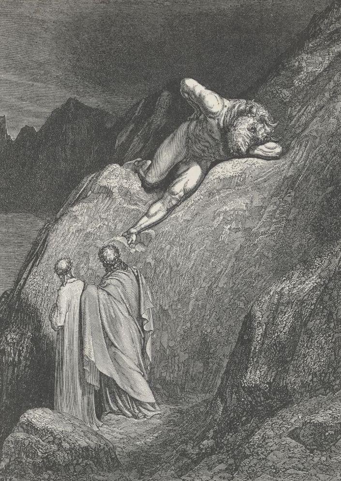 El Minotauro se encoleriza al ver a Dante y Virgilio en sus dominios infernales