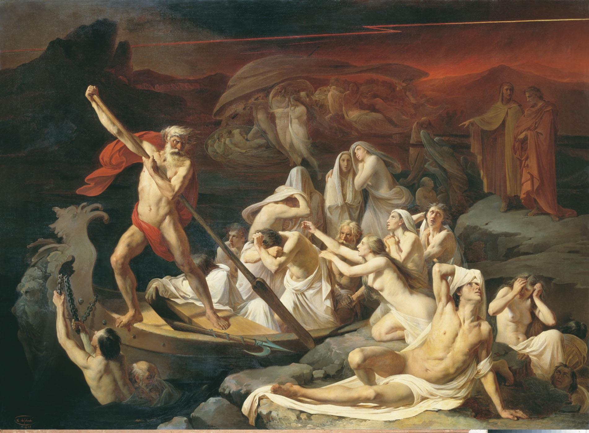 Flegias, el otro barquero. Aquí se cruzará a Dante y a Virgilio sobre la laguna de lava hirviente llamada Estigia