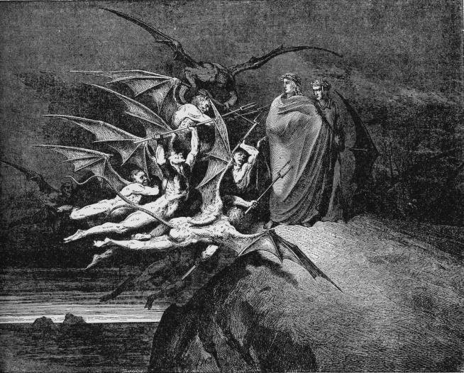 Dante y Virgilio intentan ser atormentado por diablos cornudos, caracterización  que llega aun hasta nuestros días