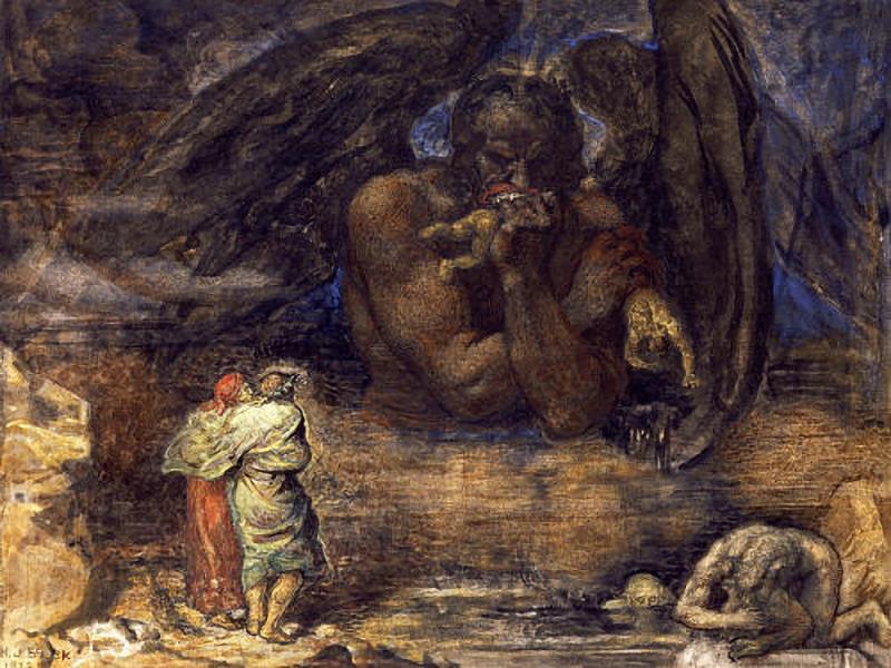 El espeluznante espectáculo que Satán expone a los ojos de Dante hacen que el poeta sienta que está muerto en vida.