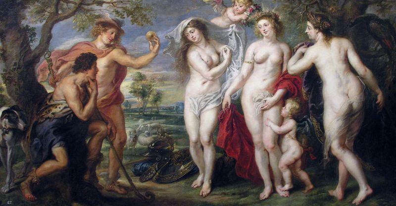 El Juicio de Paris. Aquí, el joven troyano eligió a Afrodita por sobre Hera, que aborrecerá por siempre a los troyanos.