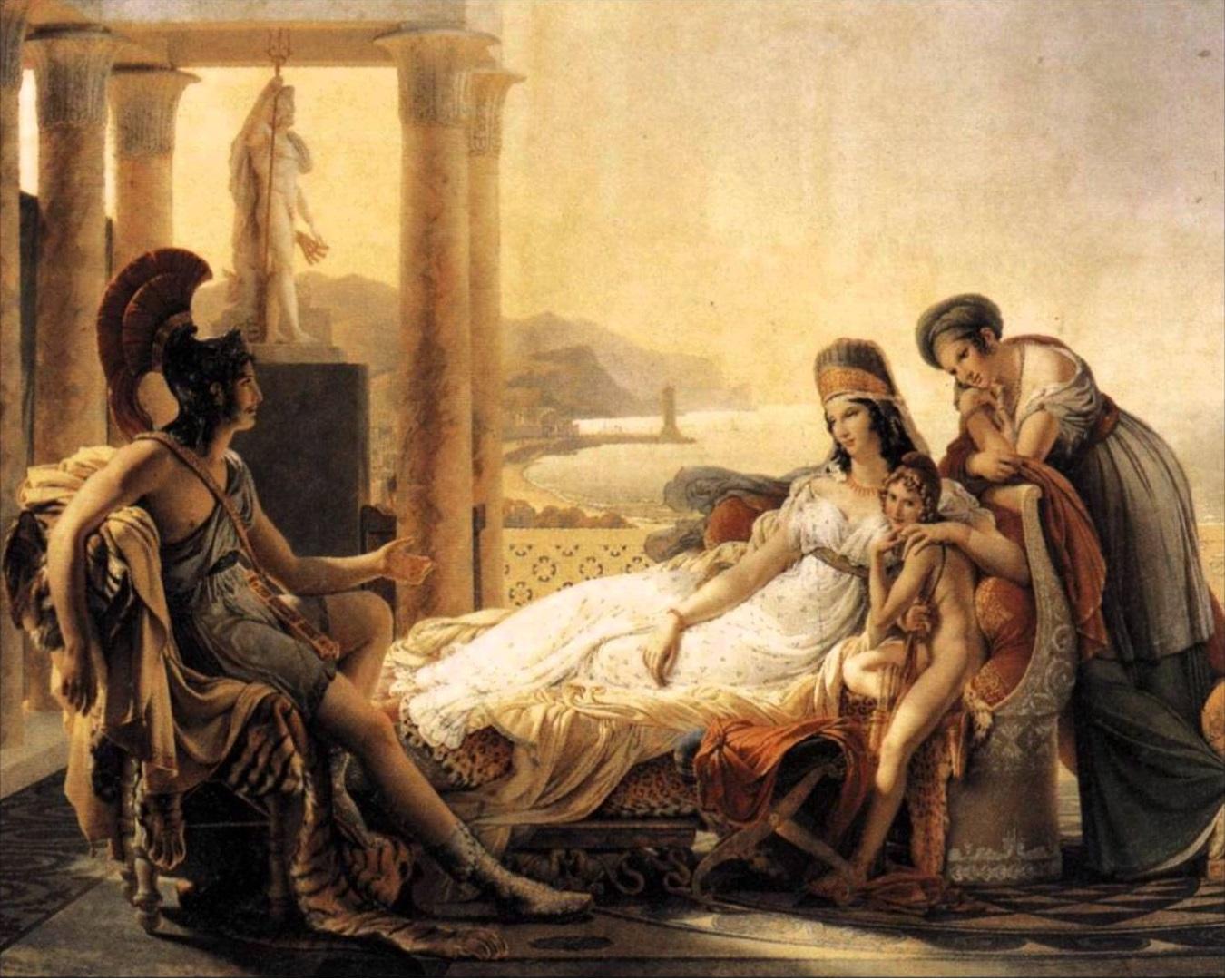 Eneas cuenta la historia del Caballo de Troya a Dido, que se enamorará y suicidará por el héroe.