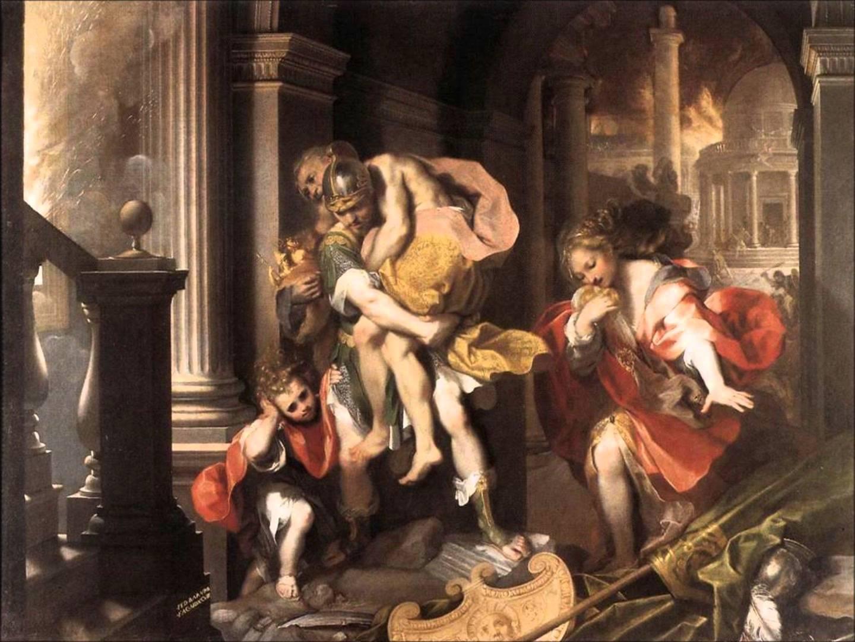 Eneas, escapa de Troya junto a Anquises, Ascanio y Creusa, aunque su esposa se perderá en el camino.