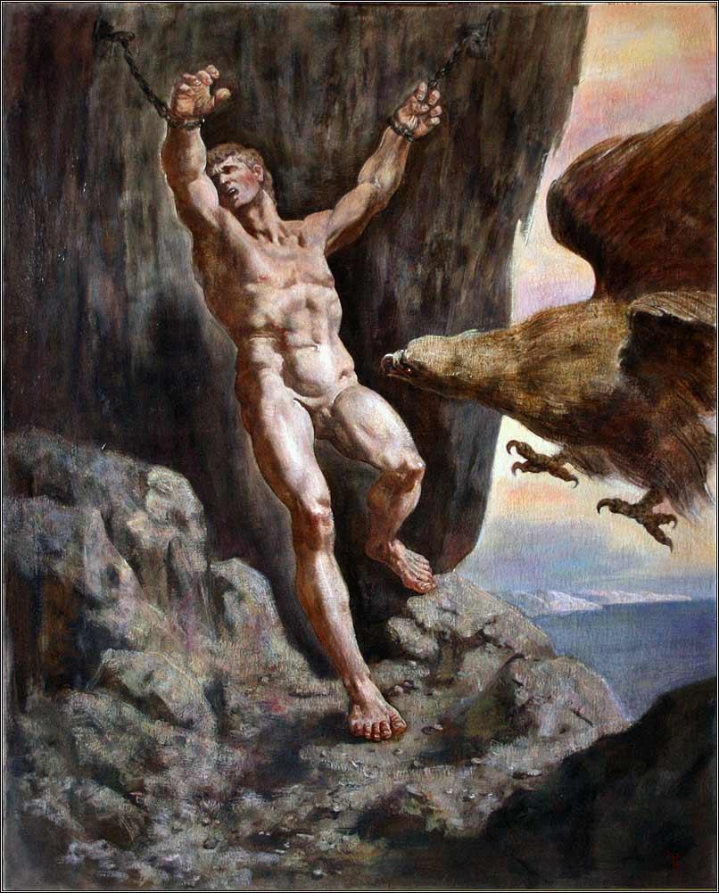 El águila de Zeus lastimará a Prometeo eternamente, pero Heracles lo liberará de su padecimiento