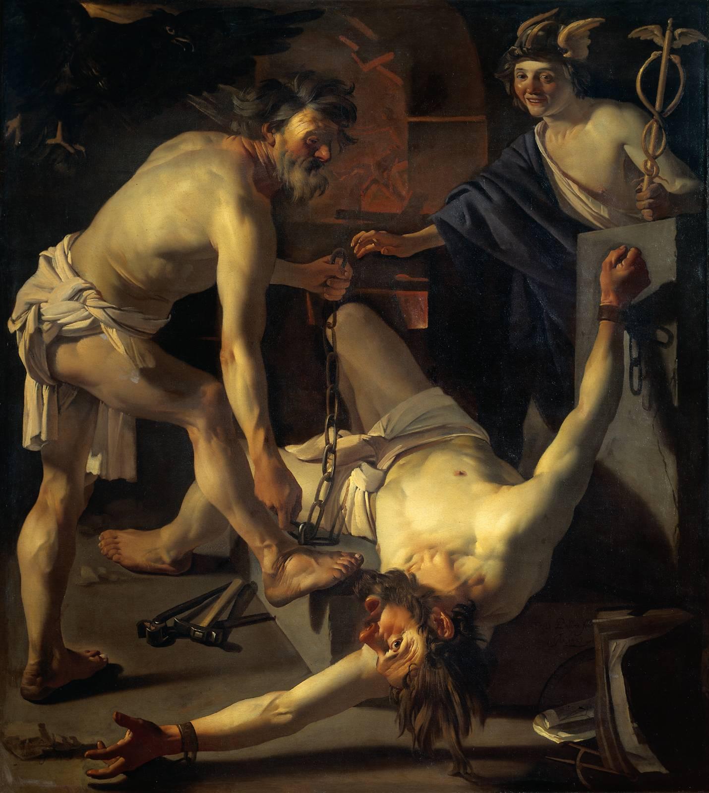 Hefesto, Bría y Cratos encadenan a Prometeo para luego llevarlo al Cáucaso