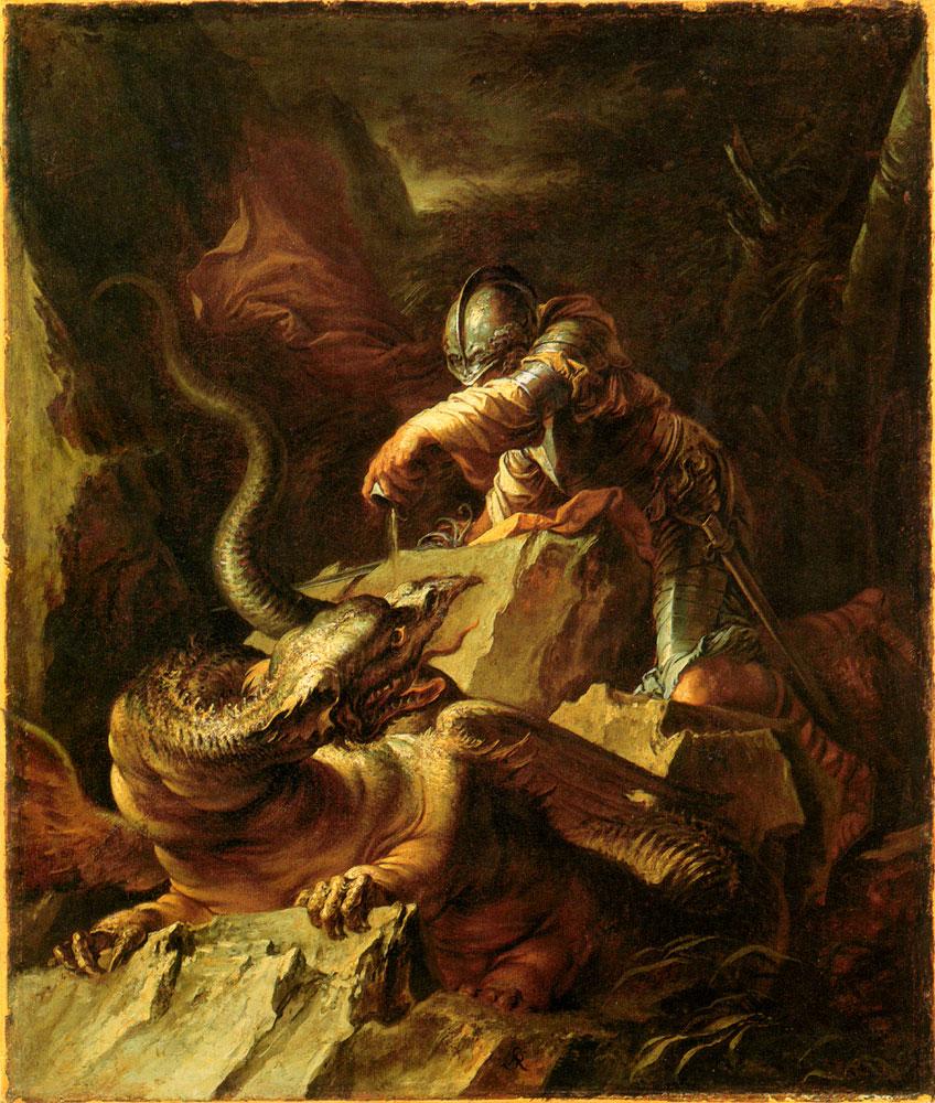 Los dragones también existieron en la Mitología Griega. Éste vivía en la Cólquida y custodiaba el Vellocino de Oro.