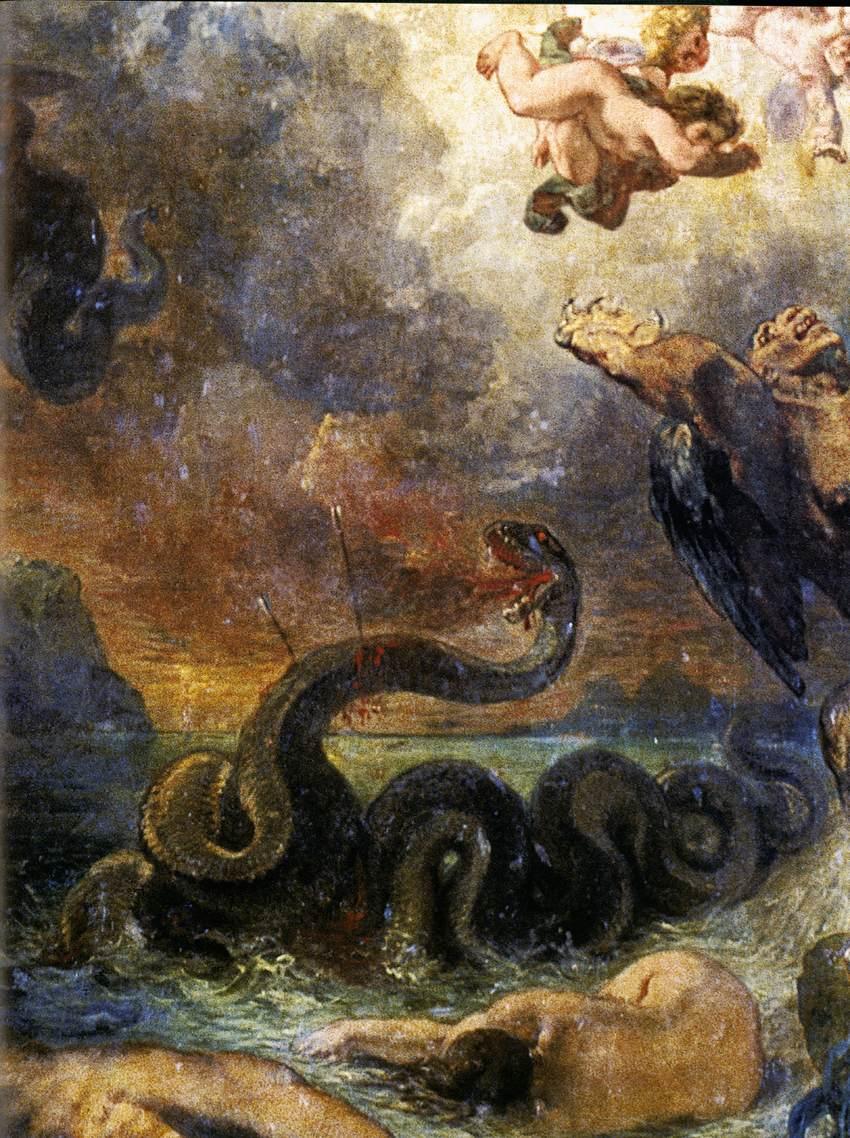La enorme Pitón de Delfos fue muerta con las flechas del dios Apolo, quien se apoderó del Oráculo de Delfos como lugar para su veneración