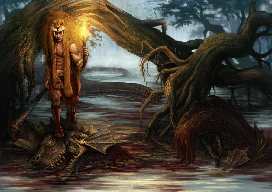 Heracles con el león en sus espaldas y luego de matar a la Hidra