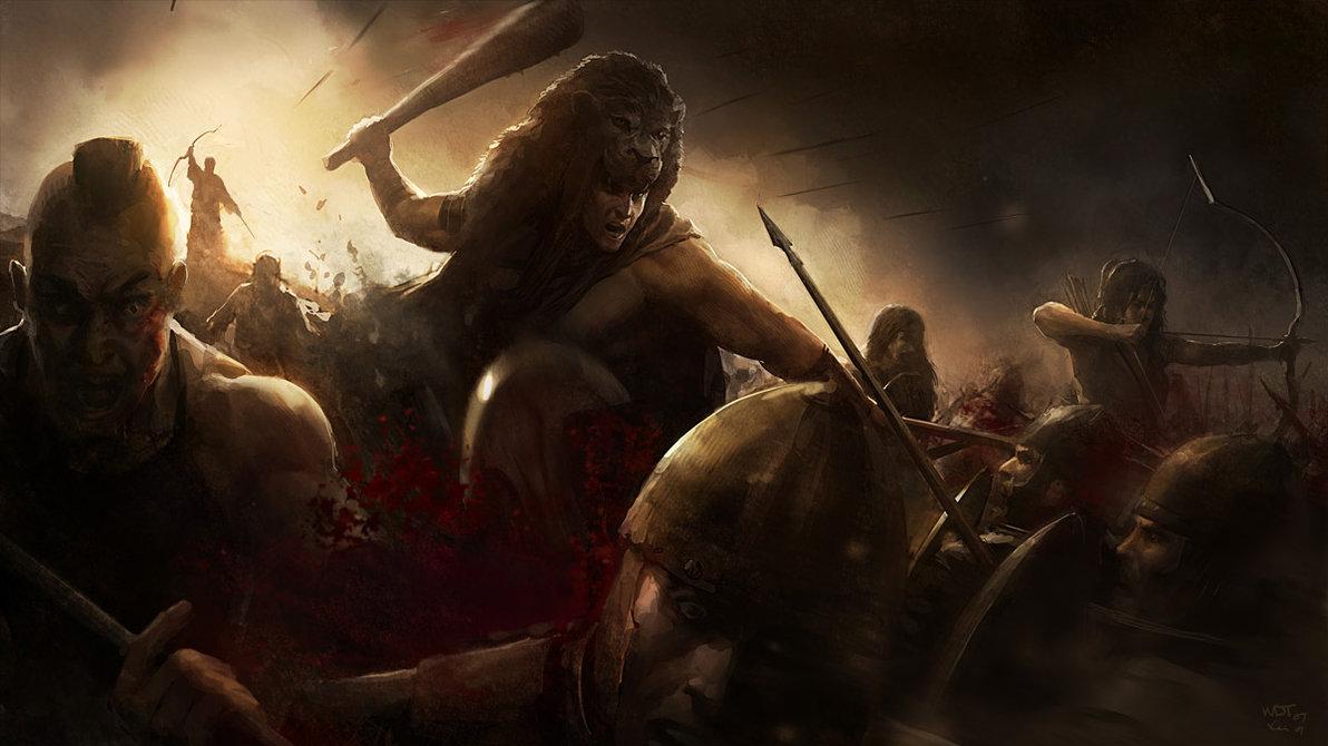 Heracles (o Hércules) con su garrote y la cabeza del león de Nemea como Yelmo