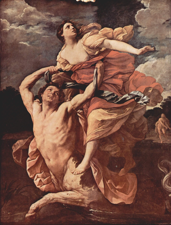 El centauro Neso secuestra a Deyanira. Al fondo, Heracles se dispone a cruzar el río para matar a Neso [cuadro de Guido Reni]