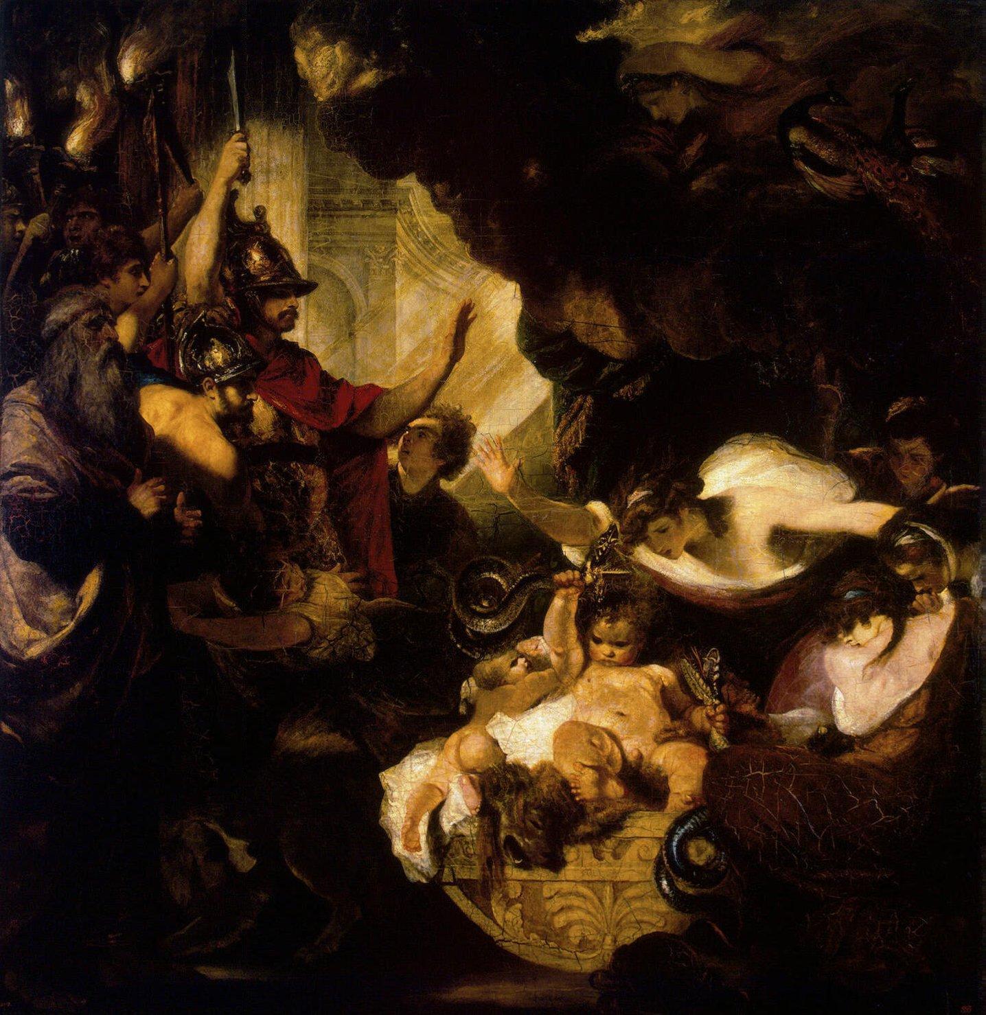 El infante Heracles estrangula a las serpientes con sus manos [cuadro de  Joshua Reynolds, 1788]
