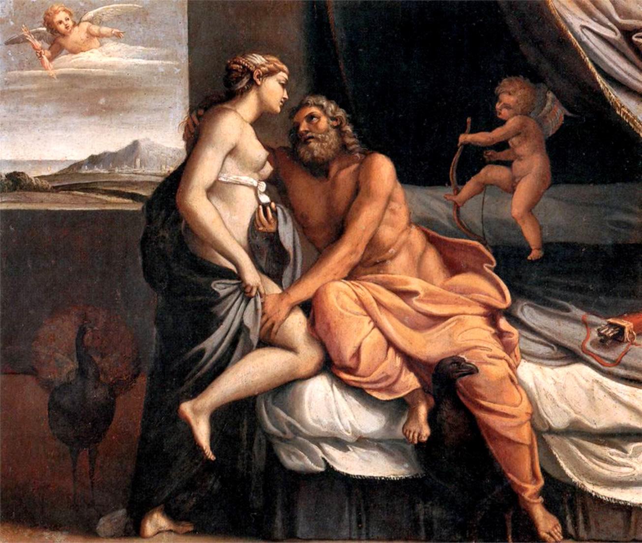 Zeus se metamorfoseó en el cuerpo de Anfitrión e intimó con la reina Alcmena, de cuya unión nació Heracles y desató el escándalo con Hera.